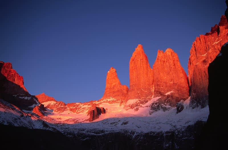Dawn light on the Torres del Paine, Torres del Paine NP, Patagonia, Chile.