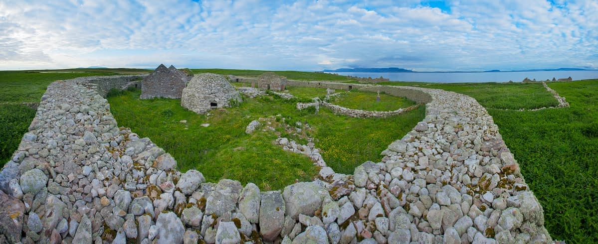 Remains of a sixth century monastery on Inishmurray island, County Sligo, Ireland.