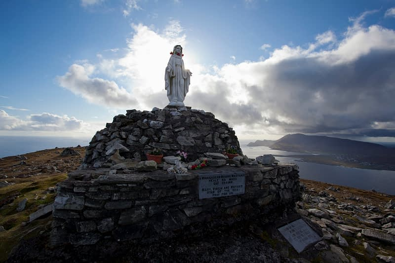 Statue at the top of the Menawn Cliffs, Achill Island, Co Mayo, Ireland.