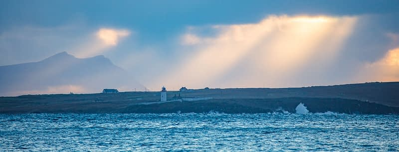 Evening over Ballyglass Lighthouse, Broadhaven Bay, County Mayo, Ireland.
