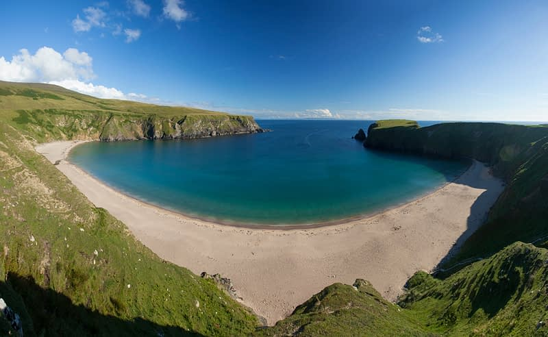 The sandy cove of Traban, Malin Beg, County Donegal, Ireland.