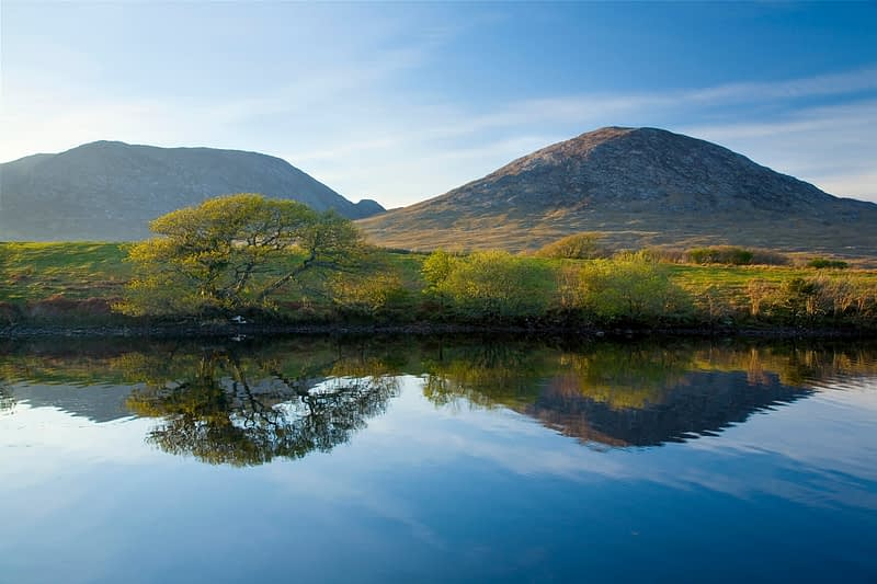 Reflections of the Maumturk Mountains, Connemara, Co Galway, Ireland.