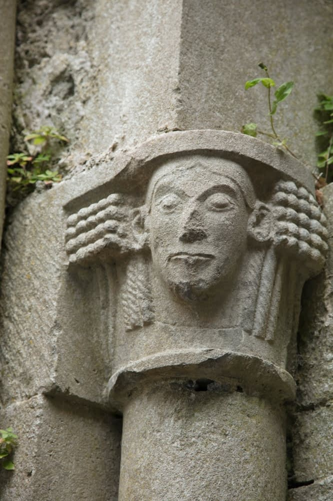 Stone carving at Corcomroe Abbey, County Clare, Ireland.