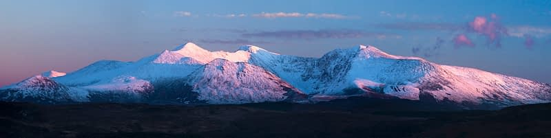 Winter evening panorama of the MacGillycuddy's Reeks, County Kerry, Ireland.