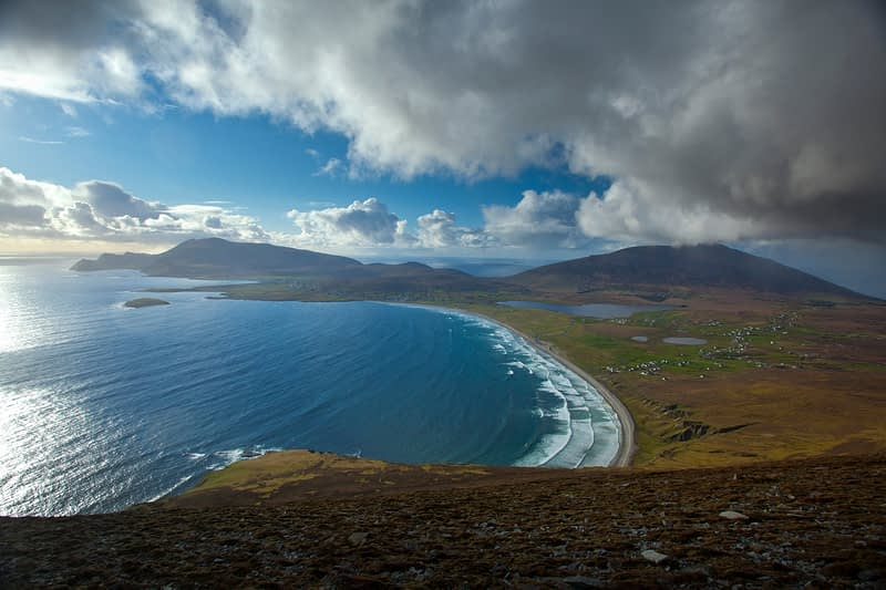 View over Achill Island from the Menawn Cliffs, Co Mayo, Ireland.