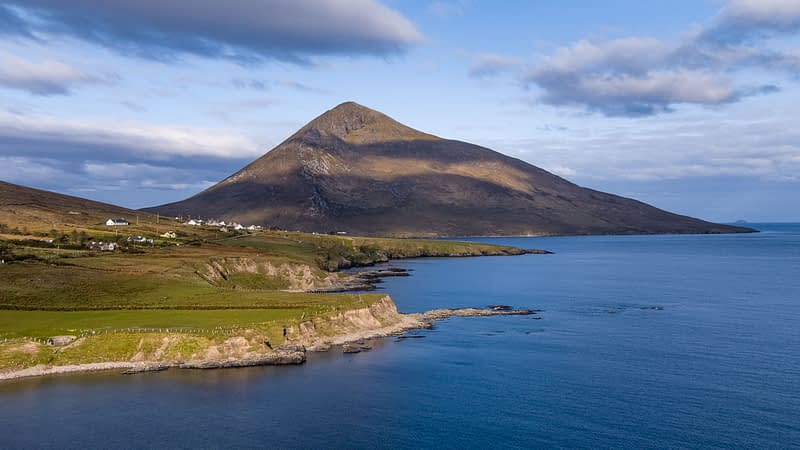 Aerial view of Slievemore, Achill Island, County Mayo, Ireland.