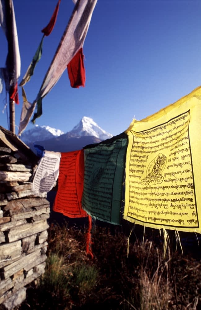 Prayer flags in the himalayan mountains, Nepal.