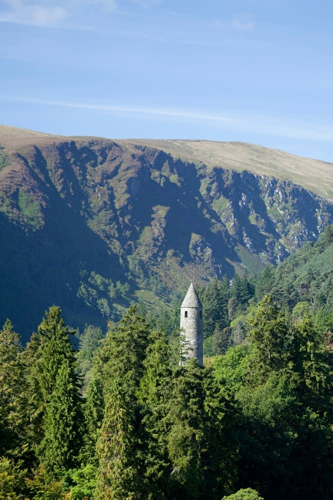 Glendalough round tower, Wicklow Mountains National Park, Co Wicklow, Ireland.