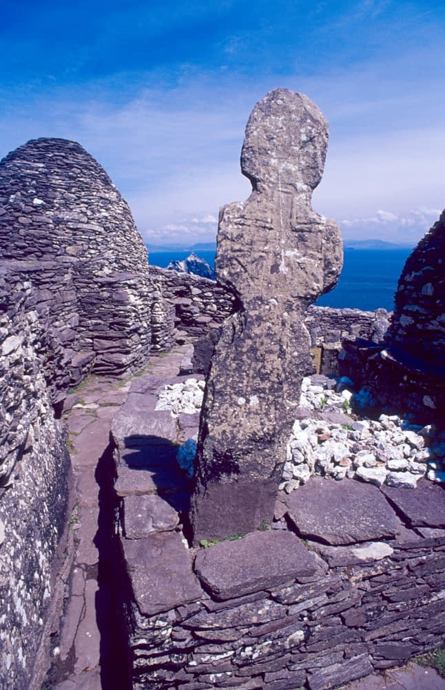6th century cross and beehive oratories, Skellig Michael, Co Kerry, Ireland.