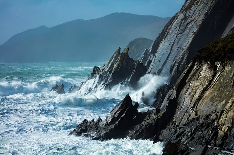 Storm waves at Slea Head, Dingle Peninsula, County Kerry, Ireland.