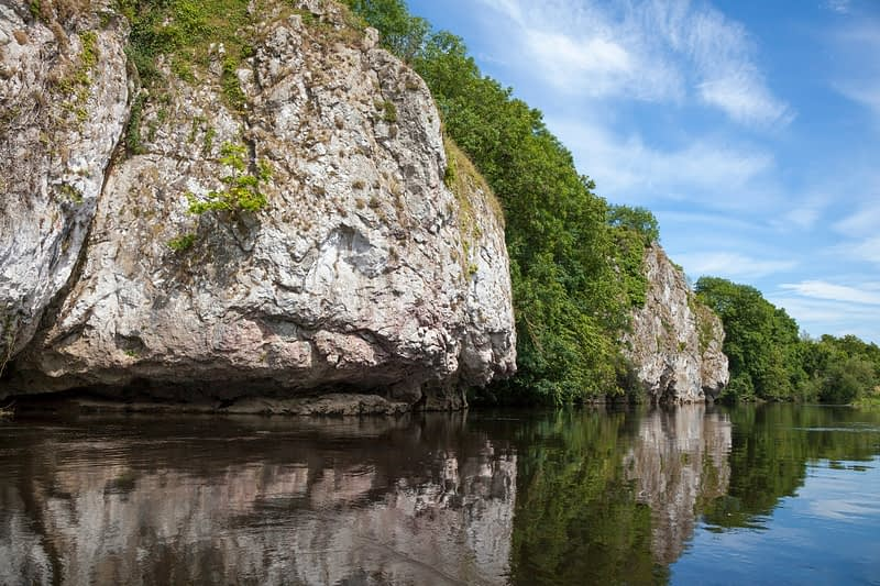 Limestone cliffs along the Blackwater River, Mallow, County Cork, Ireland.