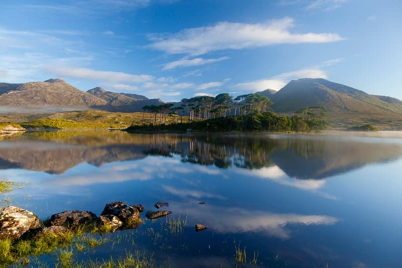 Morning reflection of the Twelve Bens in Derryclare Lough, Connemara, Co Galway, Ireland.