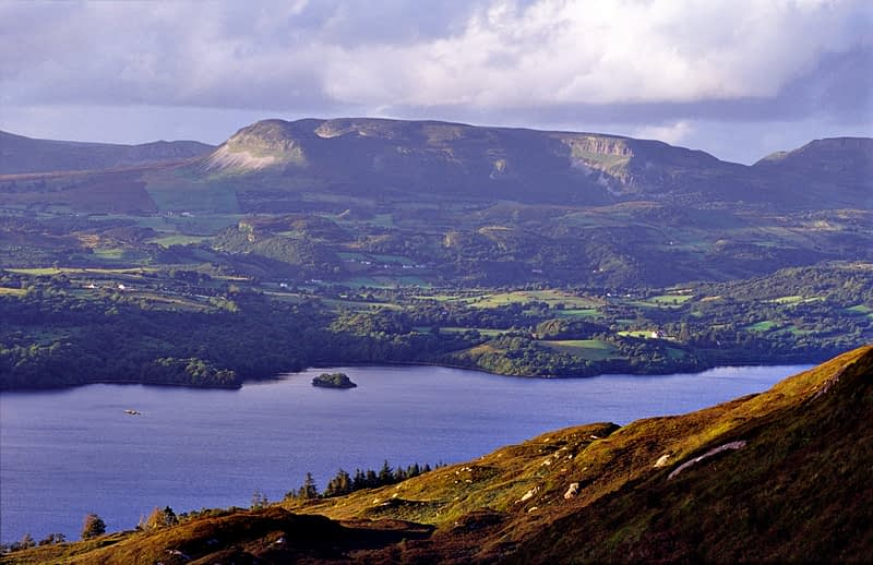 View over Lough Gill from Killery Mountain, Co Sligo, Ireland.