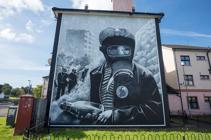 Republican mural of a petrol bomber, Bogside, Derry city, County Derry, Northern Ireland.