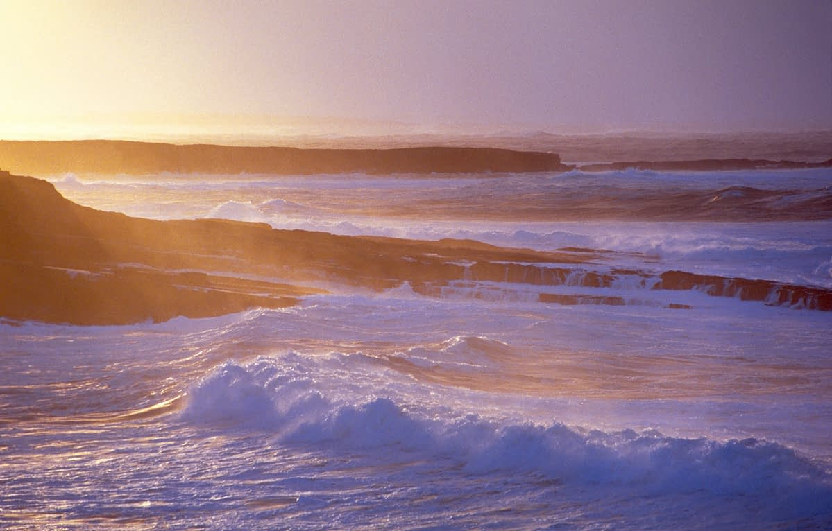 Evening waves at Mullaghmore Head, Co Sligo, Ireland.