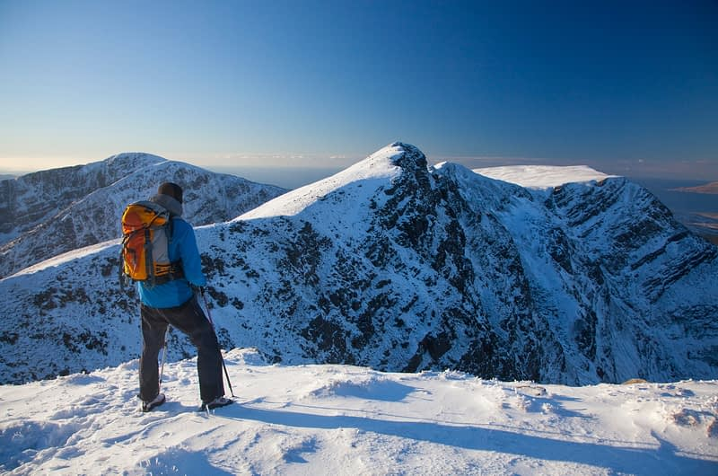 Winter walker near the summit of Mweelrea, Co Mayo, Ireland.