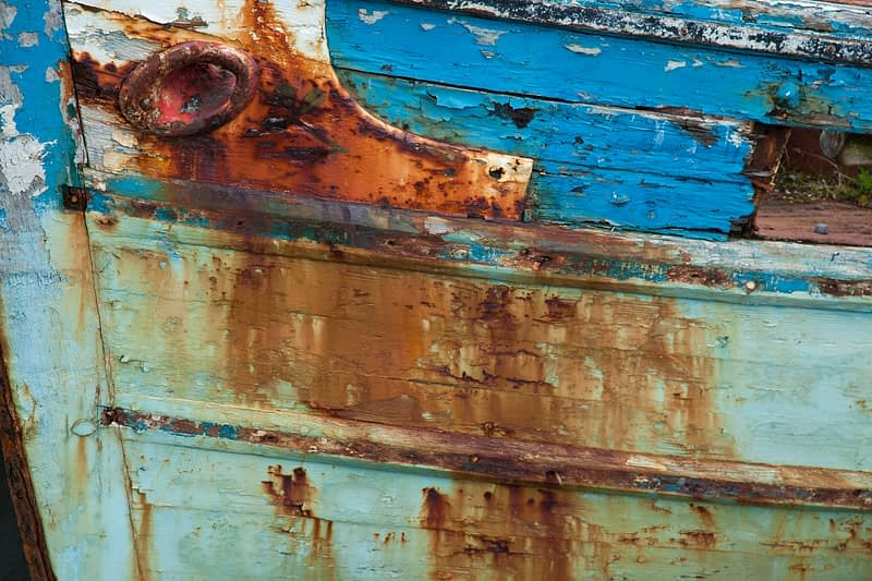 Rust and paint detail on an old fishing boat, Killala, County Mayo, Ireland.