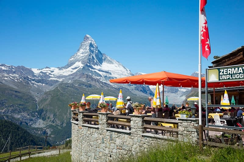 Buffet Bar Sunnegga beneath the Matterhorn, Zermatt, Valais, Switzerland.