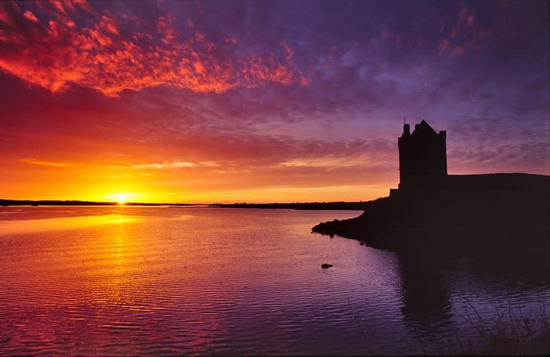 Sunset over Dunguaire Castle, Kinvara, Co Galway, Ireland.