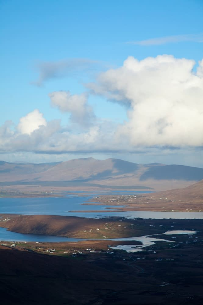 View across Blacksod Bay to Ballycroy National Park, Achill Island, Co Mayo, Ireland.