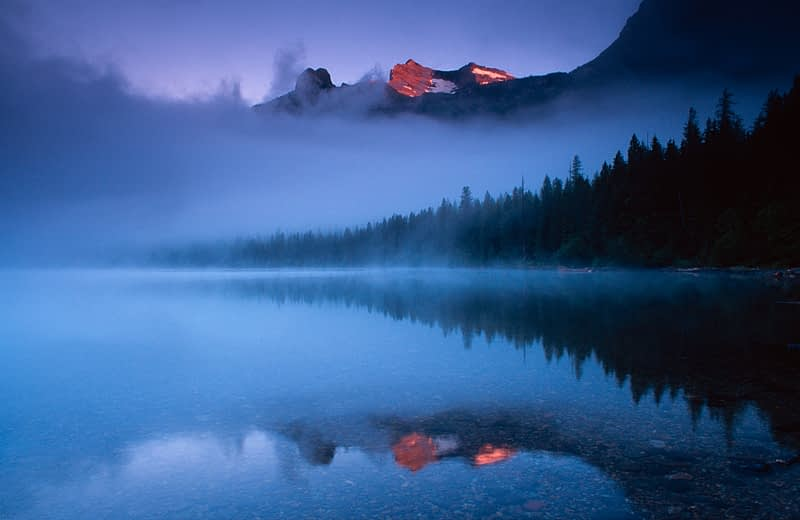 Dawn at Kintla Lake, Glacier National Park, Montana, USA.