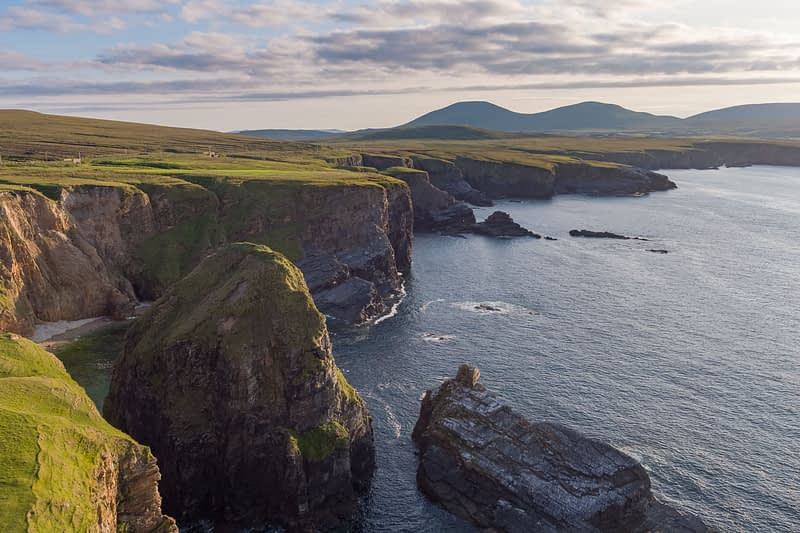 Sea cliffs and Atlantic coastline near the Ceide Fields, North County Mayo, Ireland.