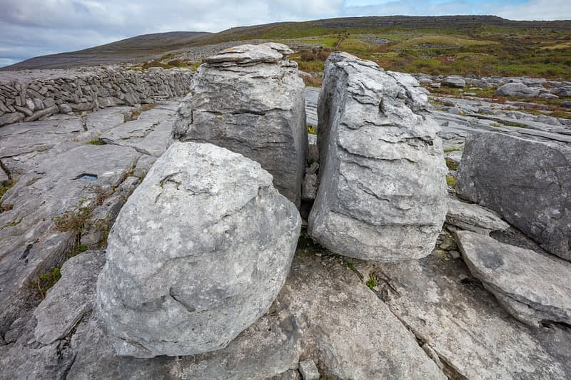 Limestone pavement and boulders in The Burren, County Clare, Ireland.