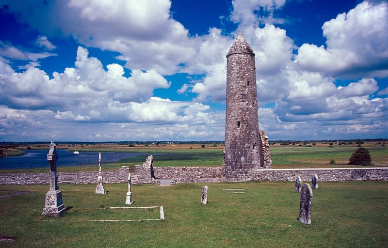 Temple Finghin and the River Shannon, Clonmacnoise, Co Offaly, Ireland.