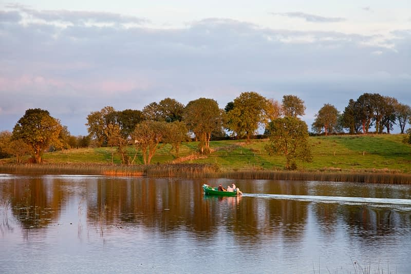 Fishing boat on the River Shannon, Co Leitrim, Ireland.