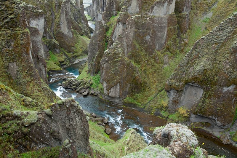 The Fjadra river deep within Fjadrargljufur Canyon, Sudhurland, Iceland.