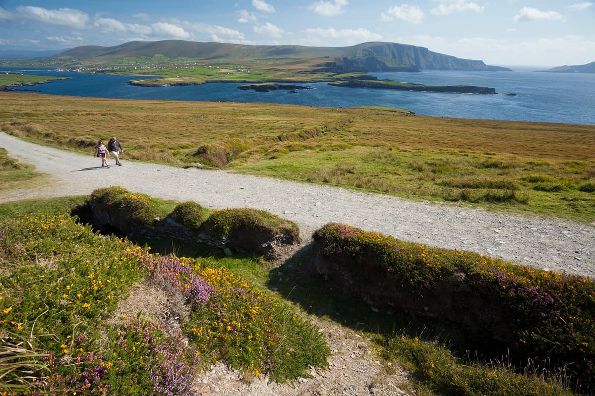 Walkers on the track to Bray Head, Valentia Island, County Kerry, Ireland.