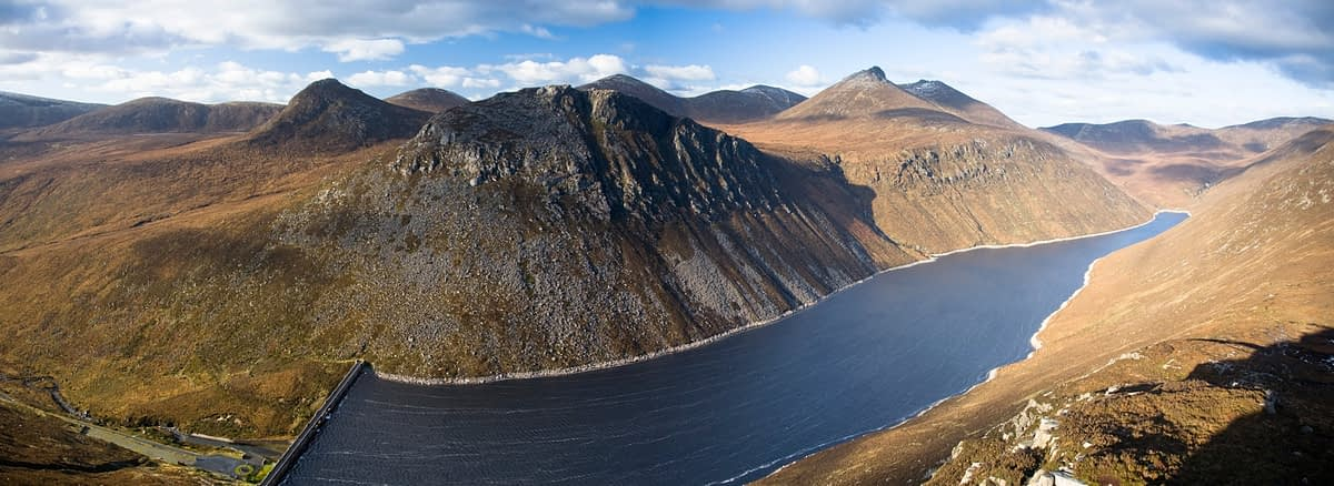 View of the Silent Valley Reservoir, Mourne Mountains, Co Down, Northern Ireland.