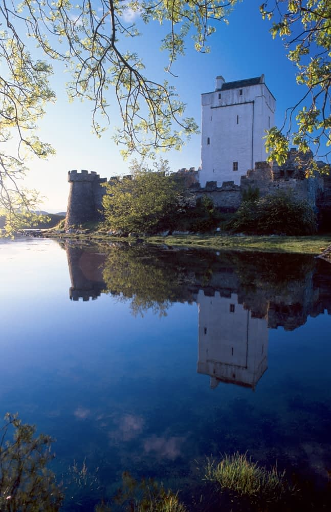 Reflection of Doe Castle, Co Donegal, Ireland.