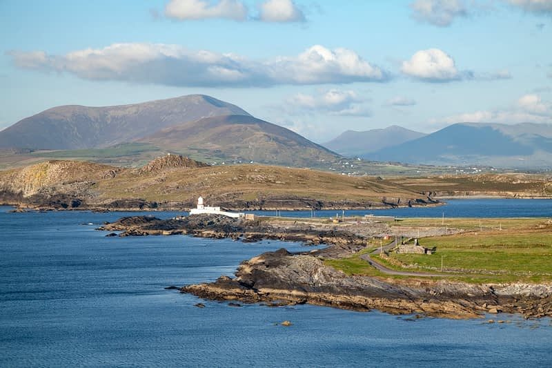 View across Cromwell Point lighthouse, Valentia Island, County Kerry, Ireland.