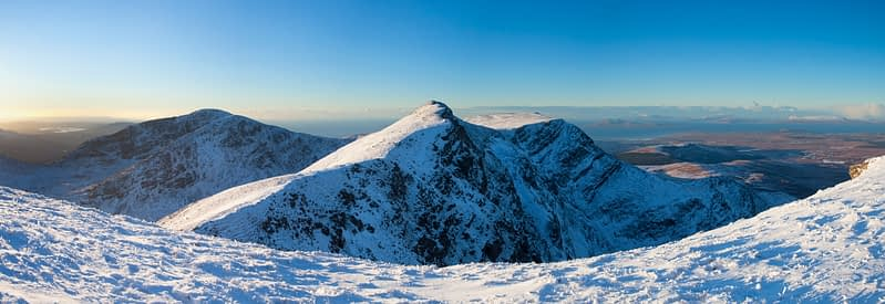 The summit of  Mweelrea in winter, Co Mayo, Ireland.