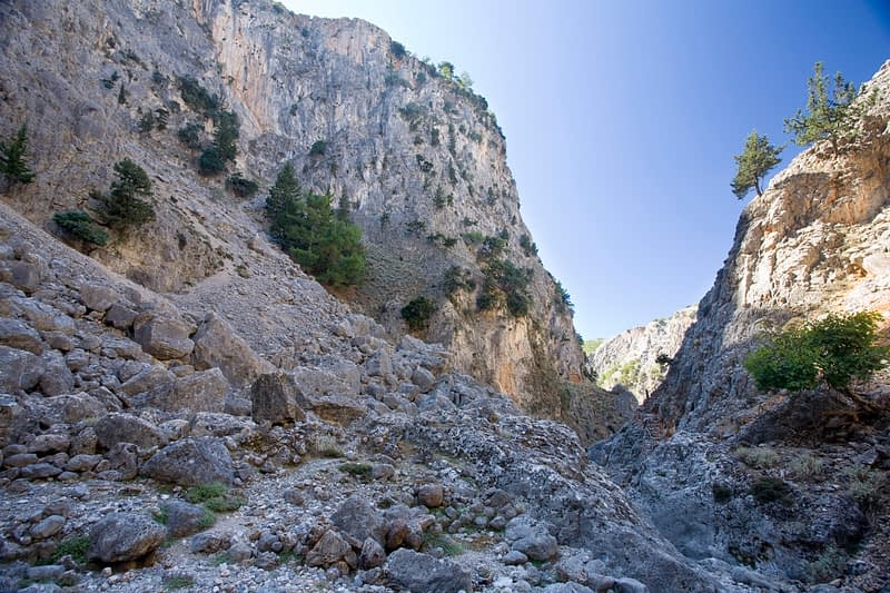 The rocky walls of the Aradena Gorge, White Mountains, Crete, Greece.