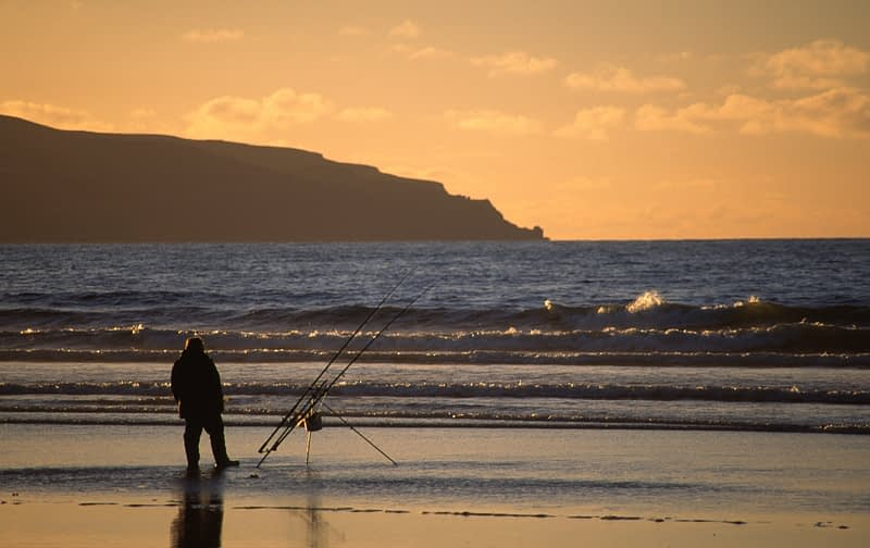 Beach casting, Downhill Strand, Co Derry, Northern Ireland.
