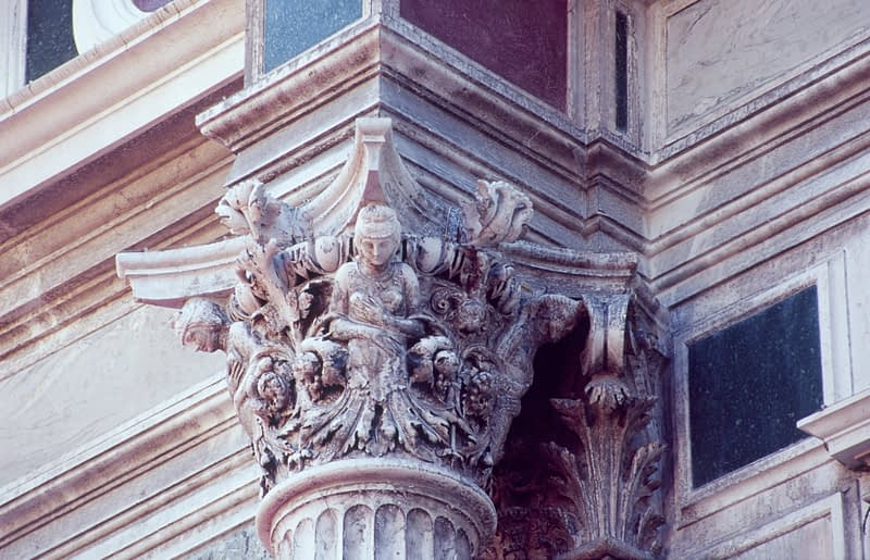 Architechtural detail from the Scuola Grande de San Rocco, Venice, Italy.