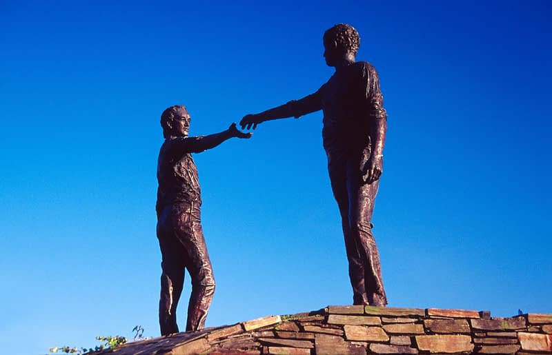 Hands Across the Divide peace monument, Derry city, Co Derry, Northern Ireland.