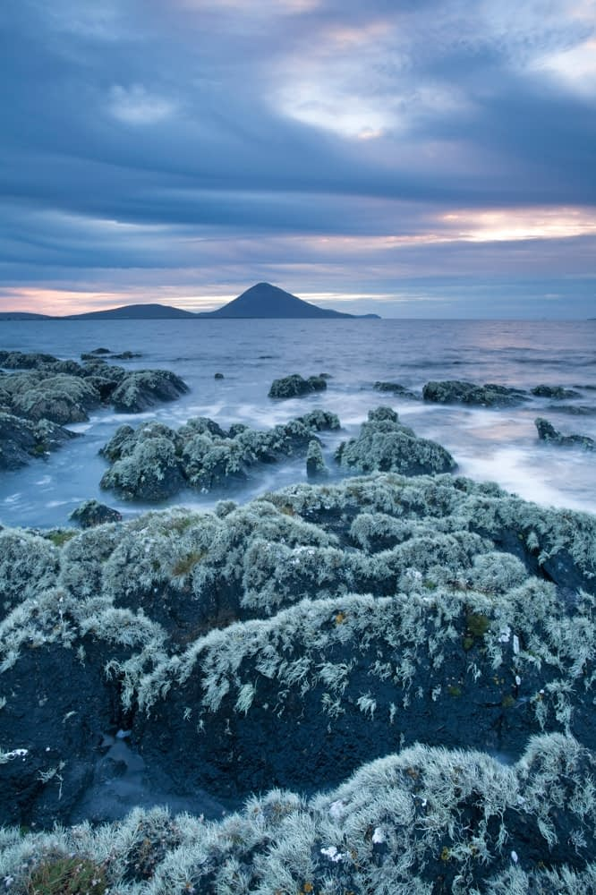 Lichen-covered coastline, Ballycroy, Co Mayo, Ireland.