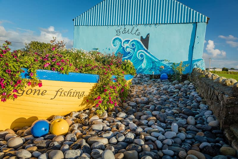 Coastal mural in Easky village, County Sligo, Ireland.