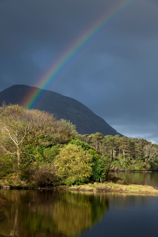 Rainbow over Kylemore Lough, Connemara, Co Galway, Ireland.