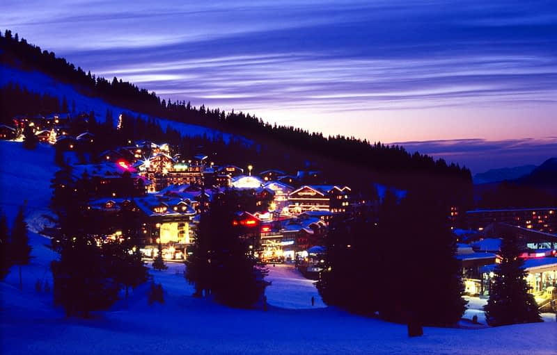 Winter dusk at Courcheval 1850, Trois Valleys ski complex, French Alps, France.