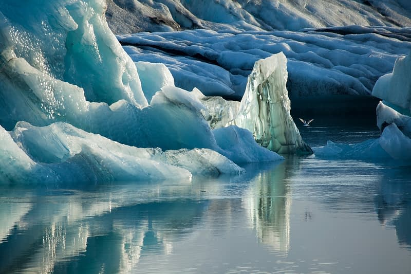 Natural ice sculptures in Jokulsarlon glacial lagoon, Sudhurland, Iceland.