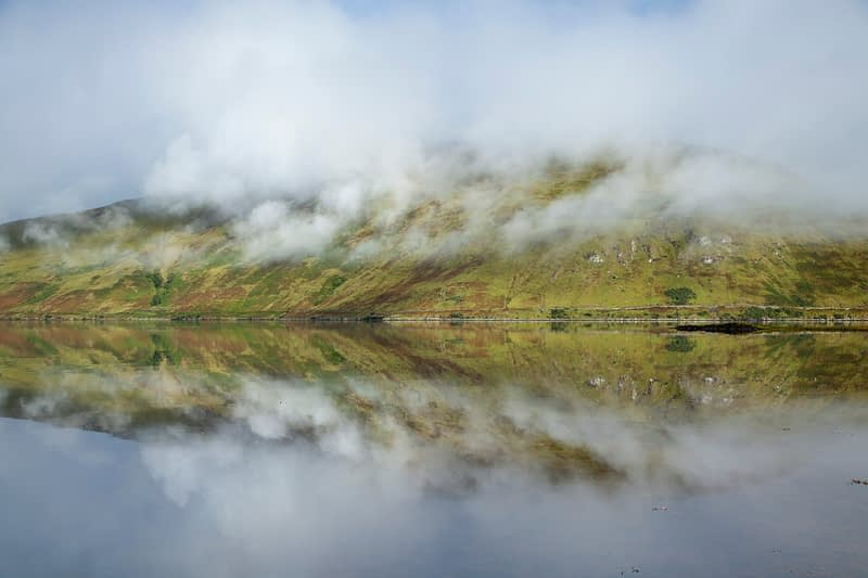 Mist reflections, Killary Harbour, County Mayo, Ireland.