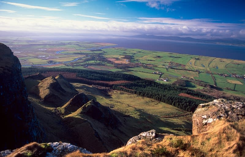View over Lough Foyle from the cliffs of Binevenagh, Co Derry, Northern Ireland.