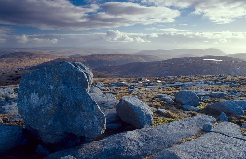 Granite boulders on the summit of Dooish Mountain, Co Donegal, Ireland.