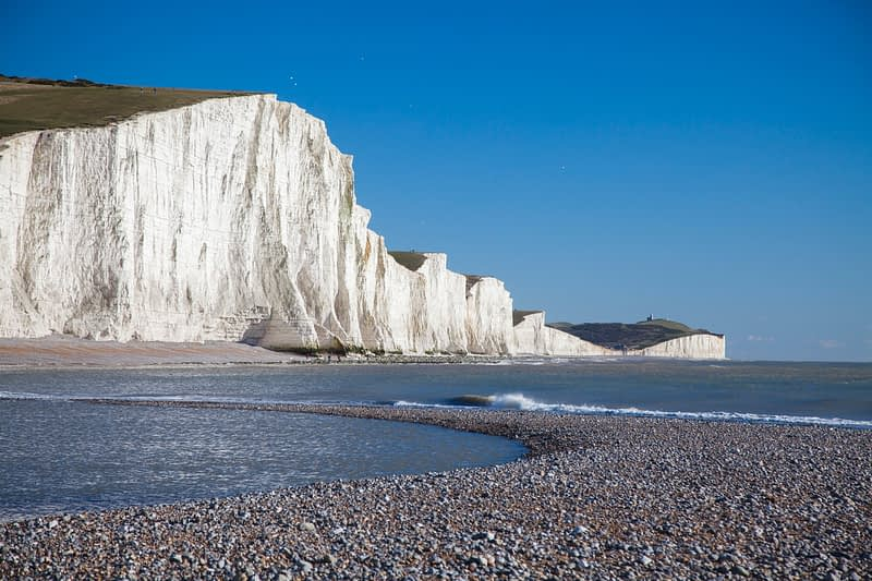 The Seven Sisters from Cuckmere Haven Beach, County Sussex, England.