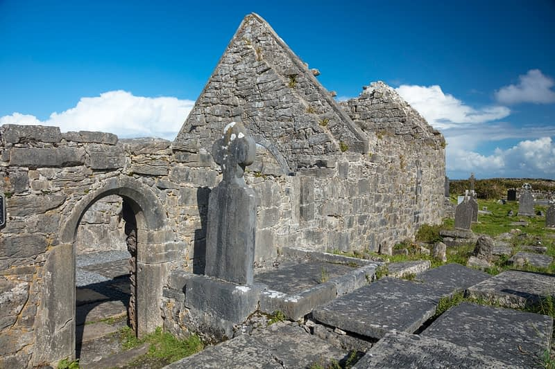 Early Christian church and cemetery, The Seven Churches, Inishmore, Aran Islands, County Galway, Ireland.