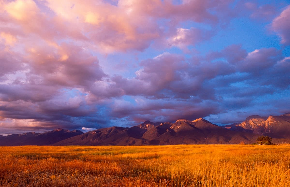 Sunset over the Mission Mountains, Montana, USA.
